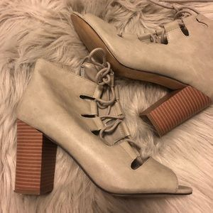 Light Grey Faux Leather Lace Up Booties